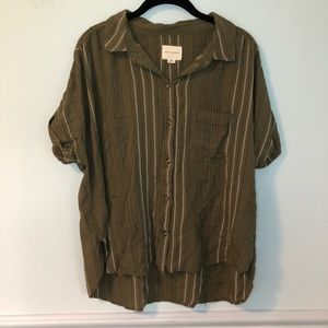 American Eagle Green Button Down Short Sleeve Top